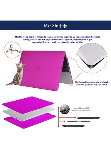 "Mcstorey MacBook Retina A1398 15"" 15.4"" Kılıf Kapak Koruyucu Hard Incase Mat Mor"